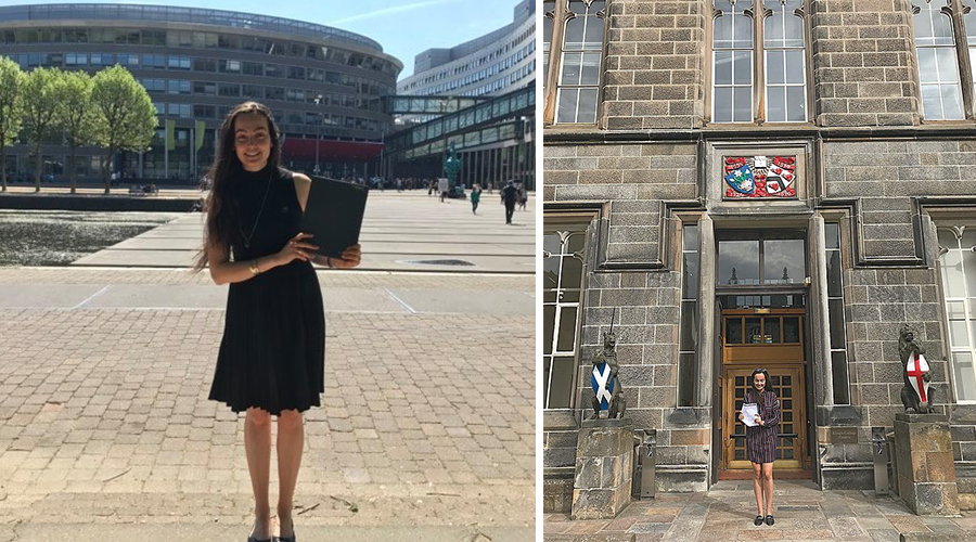 Celebrating my graduation from the Hague University of Applied Sciences with a Bachelor of Arts in European Studies (left) and the University of Aberdeen with a Master of Science in Strategic Studies and Energy Security (right).