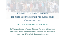 BIOSECURITY DIPLOMACY WORKSHOP FOR YOUNG SCIENTISTS FROM THE GLOBAL SOUTH 2nd Edition, 2020 – 2021 - Call for applications now open